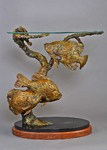Crappie bronze table ends sculpture