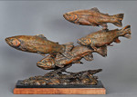 brown brook rainbow cutthroat trout bronze sculpture