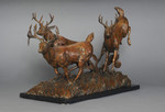 white tail deer bronze sculpture